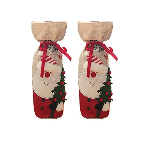 Kelei 2 Stück Weihnachten Weinflasche Taschen Weinflasche Abdeckung Weihnachten Weintasche Weinbeutel Wein Geschenkbeutel Weihnachtsmann Rotwein Flaschenbeutel für Weihnachten Dekoration