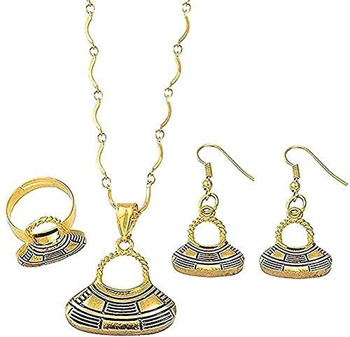 LBBYMX Co.,ltd Collar Color Oro Color Papua Guinea Collares Pendientes Conjunto de Pendientes Conjunto de Anillos Conjuntos de Joyas étnicas Longitud 45 cm Collar