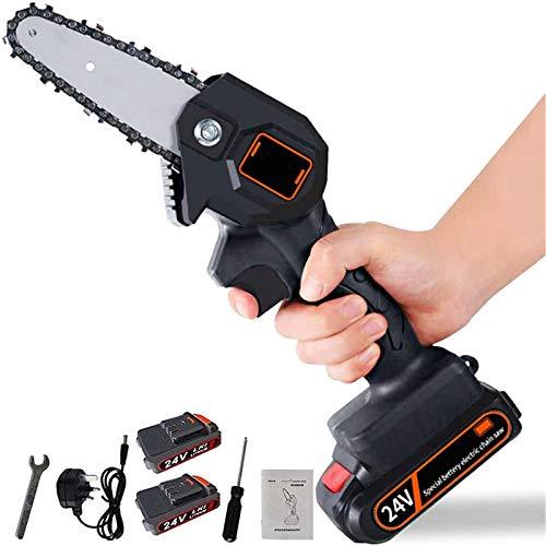 Mini tronçonneuse électrique 4 pouces sans fil Avec chargeur et 2 scies à main à batterie 24v,Vitesse de coupe réglable pour la coupe du bois, l'élagage des arbres et le jardin (Noir)