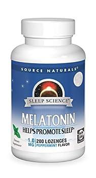 Source Naturals Sleep Science Melatonin 1 mg Peppermint Flavor - Helps Promote Sleep - 200 Lozenge Tablets