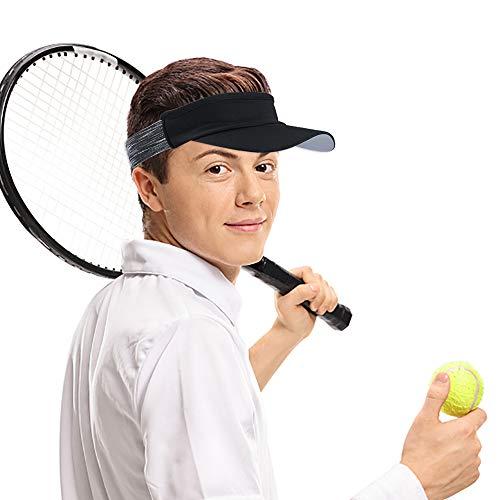 LATTCURE Stirnband Visor, Sommerhut Sonnenhut Visor Cap Tennis Golf Sonnenblenden Einstellbare Running Sonne Kappe Herren Damen Sport Outdoor Freizeit Training Cap (Schwaz)