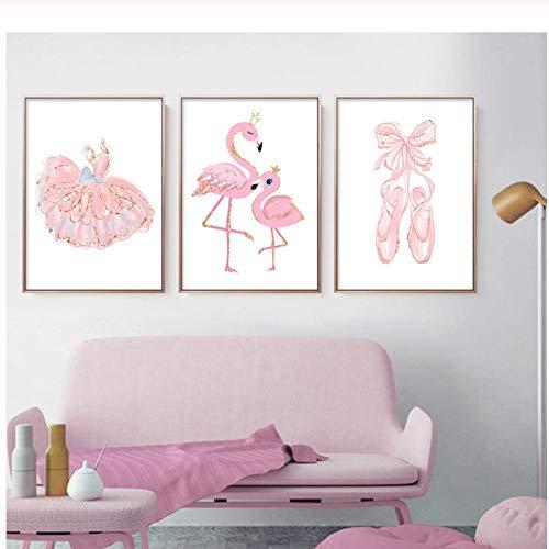 Mmdianpu Cuadro en Lienzo Bailarina Cuadro Ballet Rosa Vivero Carteles e Impresiones Arte de Pared Chica Dormitorio Decorativo (40x60 cmx3 sin Marco)