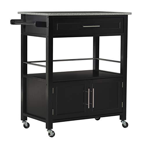 Linon Cameron Granite Top Kitchen Cart, 36.02' x 24.02' x 17.99', Black