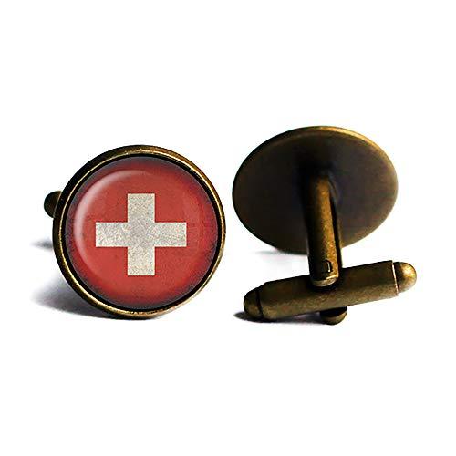 Switzerland Swiss Flag Schweiz Schweizer Flagge Antike Bronze Manschettenknöpfe