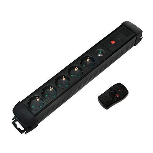 LogiLink LPS401 stekkerdoos, 5-voudig met afstandsbediening en aan/uit-schakelaar, 250 V, zwart