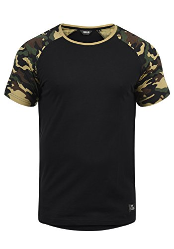 !Solid Cahil Herren T-Shirt Kurzarm Shirt mit Rundhalsausschnitt und Camouflage-Muster, Größe:M, Farbe:Black Dusty (D9000)