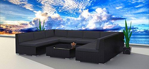 Urban Furnishing.net - Black Series 9b Modern Outdoor Backyard Wicker Rattan Patio Furniture Sofa Sectional Couch Set