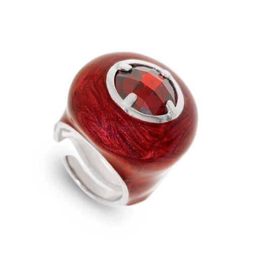 Joyasprivee X1105L - Anillo de plata 925 esmaltado rojo y piedra granate, talla 12