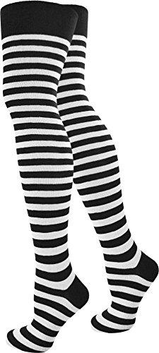 normani Damen Overknees Geringelt Baumwolle mit Elasthan Uni oder Ringel Farbe Schwarz/Weiß/schmal