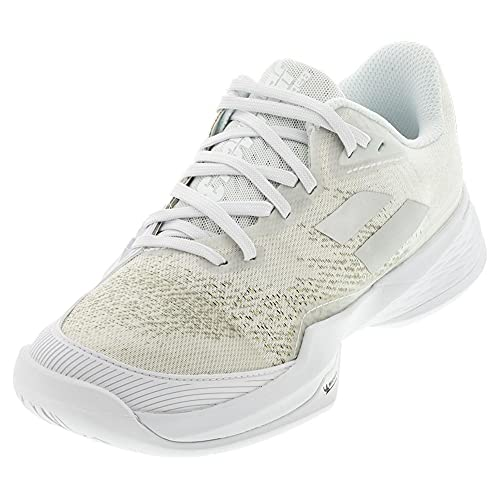 Babolat Women's Jet Mach 3 All Court Tennis Shoes, White/Silver (US Size 9.5)
