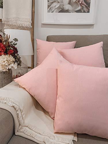 Pack 4 fundas de cojines para sofá EFECTO LINO suave, 16 COLORES fundas para almohada sin relleno, cojín decorativo grande para cama, salón. Almohadón elegante en varios tamaños.(Rosa Palo, 45x45cm)
