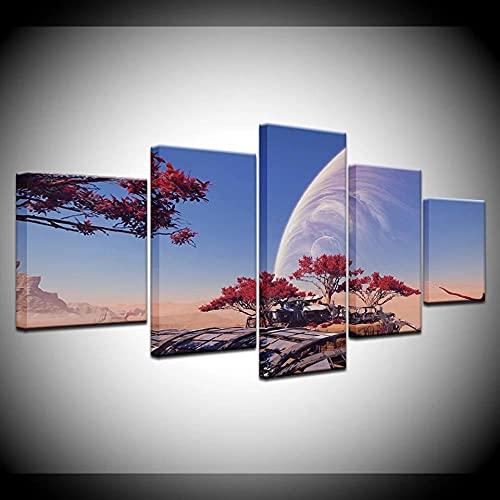 YUXIXI Cuadros Modernos Impresión De Imagen Artística Digitalizada | Lienzo Decorativo para Tu Salón O Dormitorio | 5 Piezas/con Marco/150X80Cm/Imagen del Juego