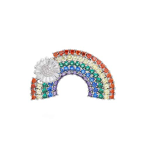 Xpccj Brooch Fashion Colorful Brooches For Women Cartoon Creative Rainbow Luxury Zircon Crystal Brooch Pins Denim Hat Badge Collar Jewelry Badges (Metal color : Silver, Size : Normal)