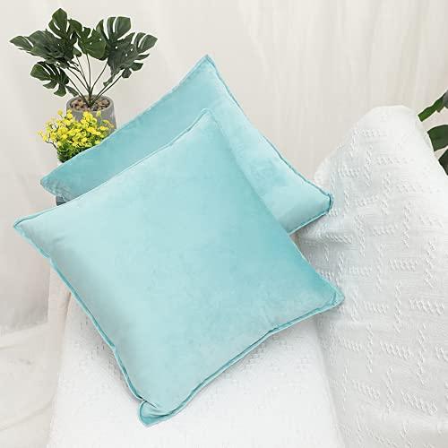 Fundas de Almohada de Terciopelo, 2 Fundas de Almohada Decorativas para sofá, Cojines para Cama y sofá de Interior, Almohadas Decorativas (Cielo Azul, 40x40cm)