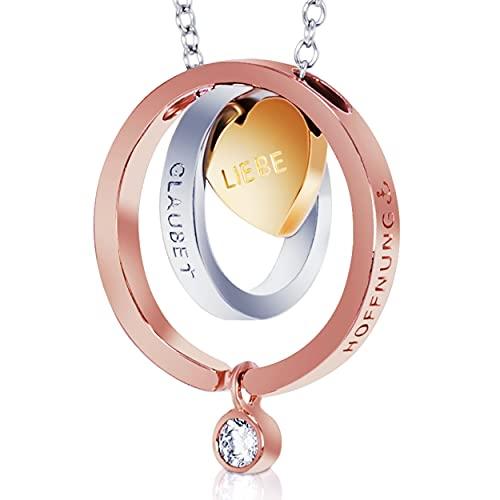 BomWod Halskette, 7 in 1 Sterling Silber S925, Geschenke für Frauen, Muttertagsgeschenk, Damenschmuck, Halskette Damen, Kette mit Anhänger Glaube – Liebe - Hoffnung...