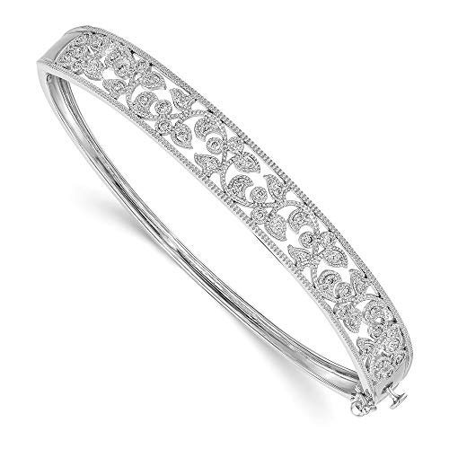 14k White Gold Diamond Hinged Bangle Bracelet Cuff Expandable Stackable Slip On Fine Jewellery For Women Gifts For Her