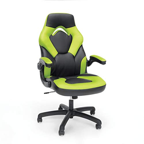Essentials Racing Style Leather Gaming Chair - Ergonomic Swivel Computer, Office or Gaming Chair, Green (ESS-3085-GRN) (Renewed) chair gaming