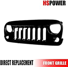 Hs Power Front Grille Compatiable with Jeep Wrangler JK 07-16 | Glossy Black Finished Angry Bird Vertical Mesh Front Hood Bumper Grill