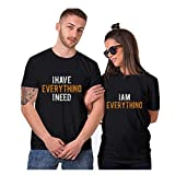 aihihe Wedding Matching Valentine's Day T-Shirt Couples T-Shirts for Boyfriend & Girlfriend Letter Print Tees Black