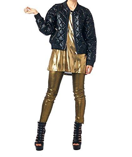 Tov Women's Studded Bubble Faux Leather Jacket Medium Black