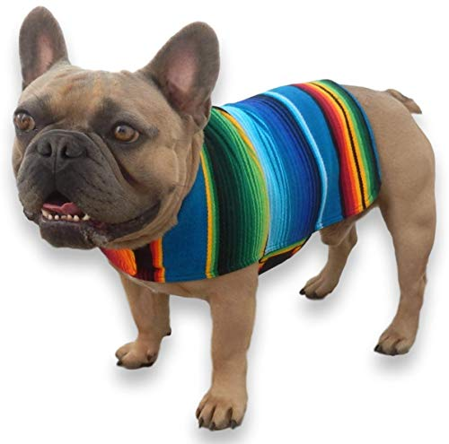 Handmade Dog Poncho from Mexican Serape Blanket - Dog Clothes - Coat - Costume - Sweater - Vest (Blue, French Bulldog/Pug)