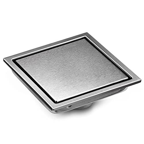 BESTTEN Modern Designer 6 Inch Square Shower Floor Drain, Reversible Designer Tile/Stainless Insert, Solid 304 Stainless Steel, CUPC Certified