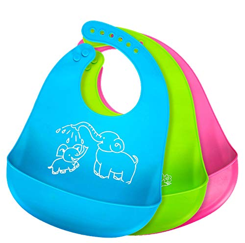 Bonim Baby Bibs for Boys Girls Waterproof Silicone Bib with Pocket Toddler, Set of 3 Colors
