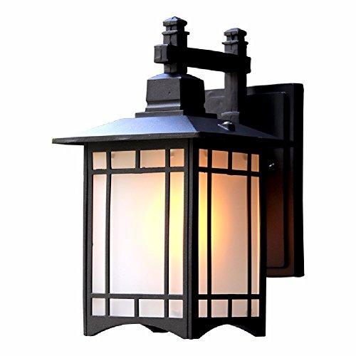 ZPSPZ Wand Lampe Chinesische Antike Outdoor Wasserdichte Wand Lampen Und Laternen Und Treppen Für Japanische Im Innenhof Leuchten,Schwarz