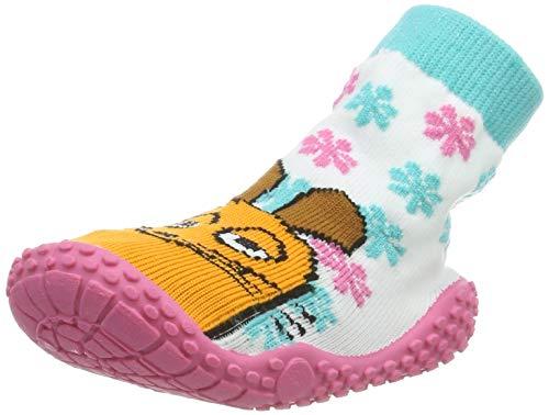 Playshoes Calcetines de Playa con protección UV Die Maus Floral, Zapatos de Agua Unisex Niños, Blanco (Weiss/Rosa 586), 28/29 EU