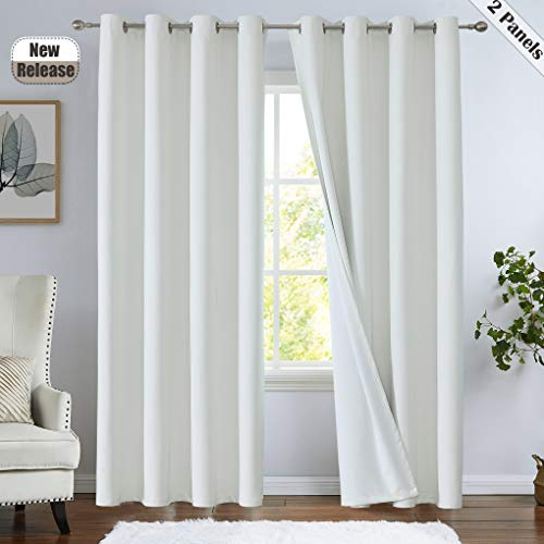 """Ronaldecor Canvas Full Blackout Curtain Panels Grommets Top Window Treatment Thermal Insulated Noise Reducing 100% Blackout Drapes for Living Room, Bedroom, Off White, 52""""x63"""", 2 Panels"""