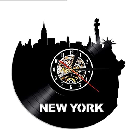 tjxu Reloj de Pared Moderno EE. UU, Horizonte de la Ciudad de Nueva York, Reloj con Disco de Vinilo, Reloj de Viaje, Reloj Retro, Estatua de la Libertad, decoración de Pared, Recuerdos