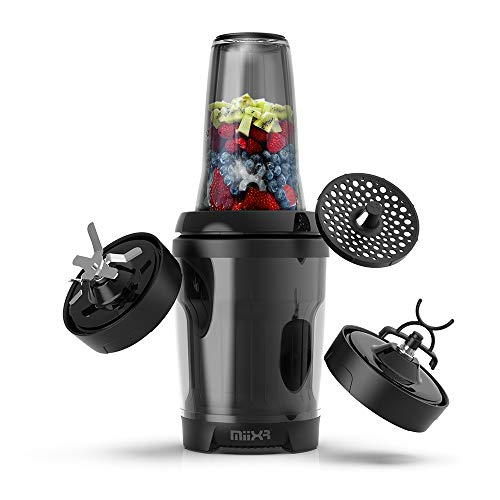 PROMiXX MiiXR X7 Personal Blender for Shakes and Smoothies - with Performance Nutrition Protein Mixer X-Blade and Shaker Bottle Agitator - Highly Efficient 700W - 8 Piece Set