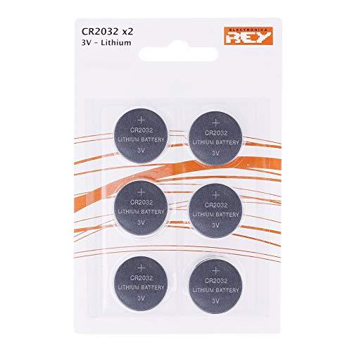 Pack de 6 Pilas CR2032 3V Alcalinas, Tipo Botón de Litio en Blister