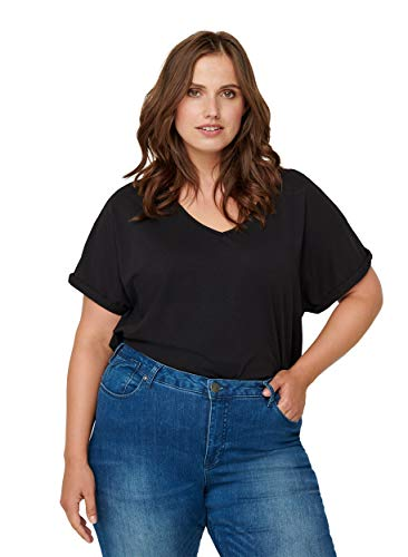 Zizzi Damen Große Größen Einfarbiges Kurzarm T Shirt mit V Ausschnitt Schwarz Gr...