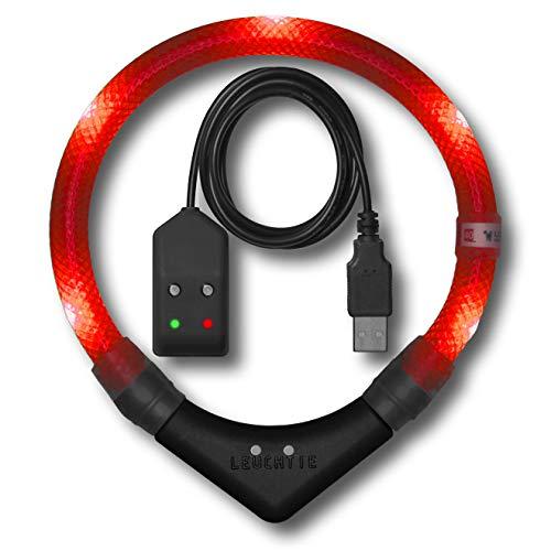 LEUCHTIE® Leuchthalsband Pro Easy Charge rot Größe 45 I LED Halsband für Hunde I USB aufladbar I wasserdicht I extrem hell