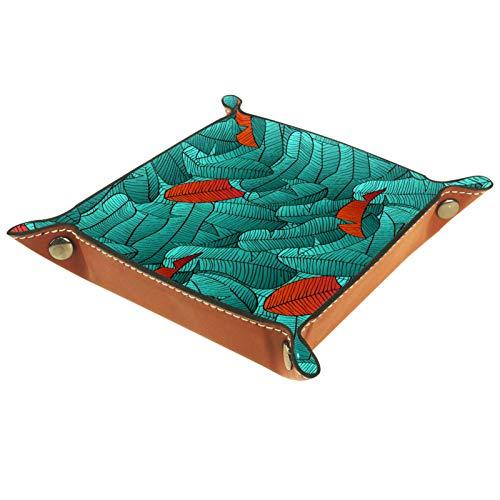 KAMEARI Bandeja de cuero colorido tropical para llaves de teléfono, monedero de piel de vacuno, práctica caja de almacenamiento para carteras, relojes, llaves, monedas