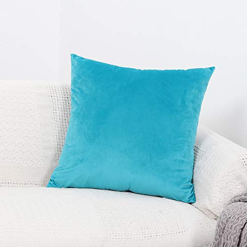 GYROHOME Pack of 2 Velvet Soft Soild Decorative Rectangle Square Throw Pillow Covers Cushion Case for Sofa Bedroom Car (Light Blue, 12'x20')