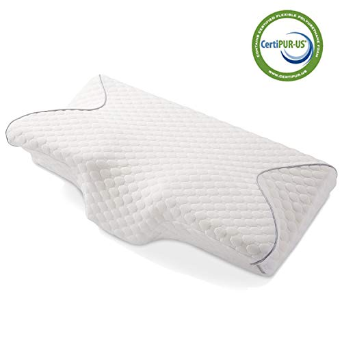 MARNUR Cervical Memory Foam Pillow Contoured Orthopedic Pillow Back Support Ergonomic Pillows for Neck and Shoulder Pain with 2 pcs Memory Foam to Adjust Hardness for Side/Back Stomach Sleepers