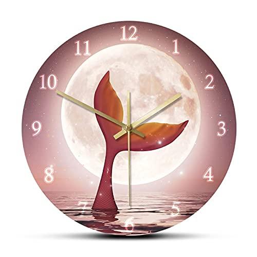 xinxin Reloj de Pared Sirena con la luz de la Luna Reloj de Pared Princesa Ariel Cola Decoración de Sirena para habitación de niña Mito...