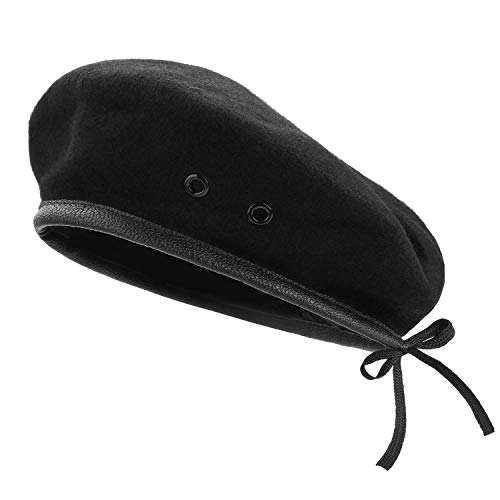 AYPOW Wool Berets, Mens Ladies Girls Boys Military Army Style Berets with Leather Trim - Adjustable, One Size Fits Most Black