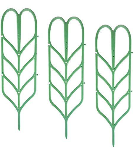 TADAE Paquete de 3 Enrejado de jardín Plástico Planta de Interior Enrejado Verde Forma de Hoja apilable Estacas de Planta trepadora Mini Soporte de Maceta para hortalizas de Guisante Clematis