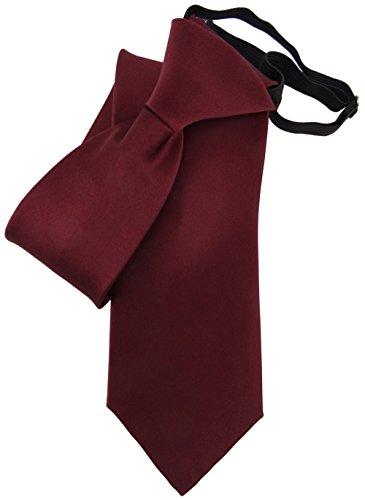 TigerTie Security Satin Seidenkrawatte in rot bordeaux weinrot uni Gummizug einfarbig - Krawatte Seide