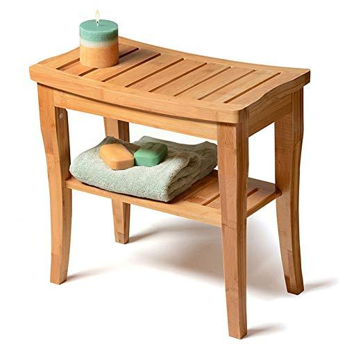 Sedile da Doccia in bambù con ripiano portaoggetti, Sgabello da Bagno in Legno | Sedia Spa per Uso Interno o Esterno