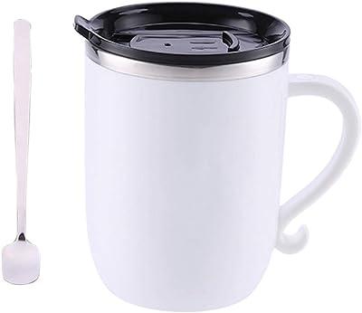 食品グレード ハンドルカバースプーンオフィス飲料水家庭用ウォーターボトルドロップで304ステンレス鋼のコーヒーマークカップ (色 : 白)