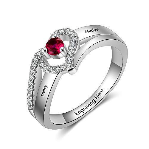 Grand Made Personalisierte Ringe mit simuliertem Geburtsstein 1 Namen und 1 Geburtstags Verlobungsgeschenk mit Gravur für ihren personalisierten Damen Silberring Damen Schmuck Freundinring (58 (18.5))