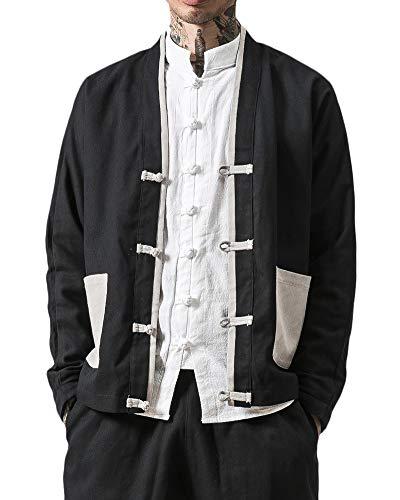 Tang-Anzug Langarm-Shirt Für Herren - Chinesische Traditionelle Trachten Kung Fu Tai Chi Oberteile Baumwoll Leinen Mantel Schwarz XL