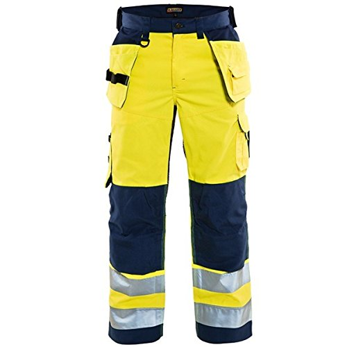 Blakläder 156518113389C44 werkbroek, geventileerd, hoge zichtbaarheid, geel/marineblauw, C46, Geel/Navy