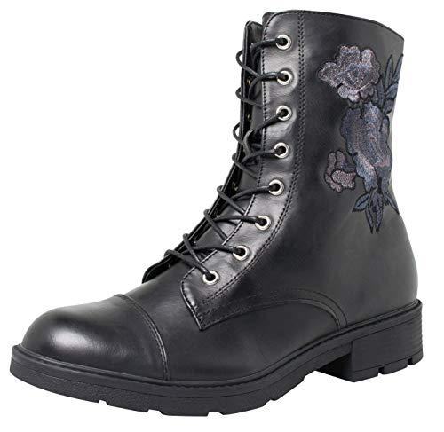 Fitters Footwear That Fits Silvana Lederimitat Damen Stiefelette Stiefel mit Blumen Bestickt (45 EU,...