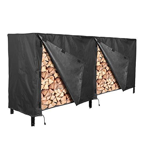 YINETTECH 250x65x110cm Holzständer Brennholzabdeckung Schutz Wasserdichter Sichtschutz Polyestergewebe Outdoor Schwarz