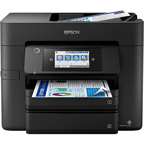 Epson Workforce Pro WF-4830DTWF 4-in-1 Business Tintenstrahl-Multifunktionsgerät (Drucker, Scanner, Kopierer, Fax, ADF, WiFi, Ethernet, NFC, Full-Duplex, Einzelpatronen, DIN A4) schwarz